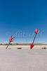Huge arrows on the roadside of Interstate 40 in Northern Arizona.