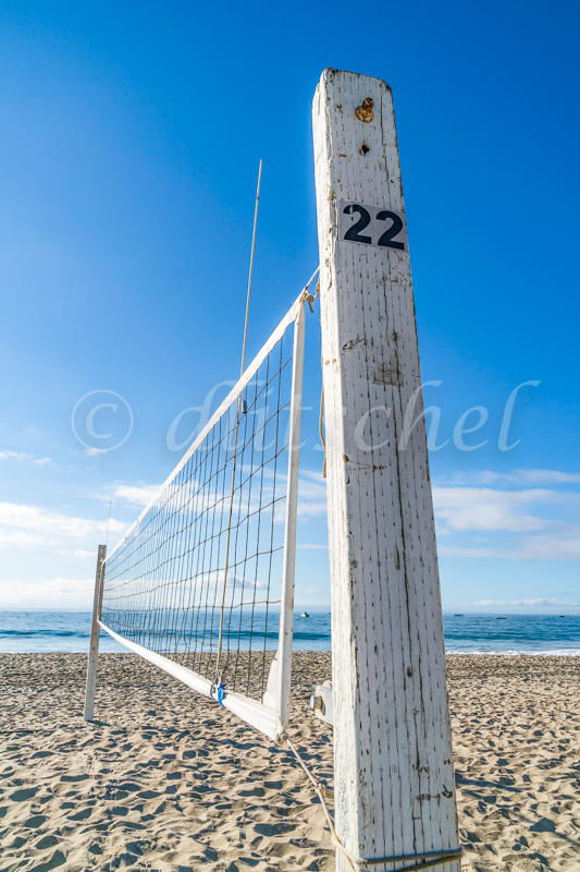 Volleyball net set up on East Beach in Santa Barbara, California.