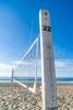 Volleyball net set up on East Beach in Santa Barbara, California.