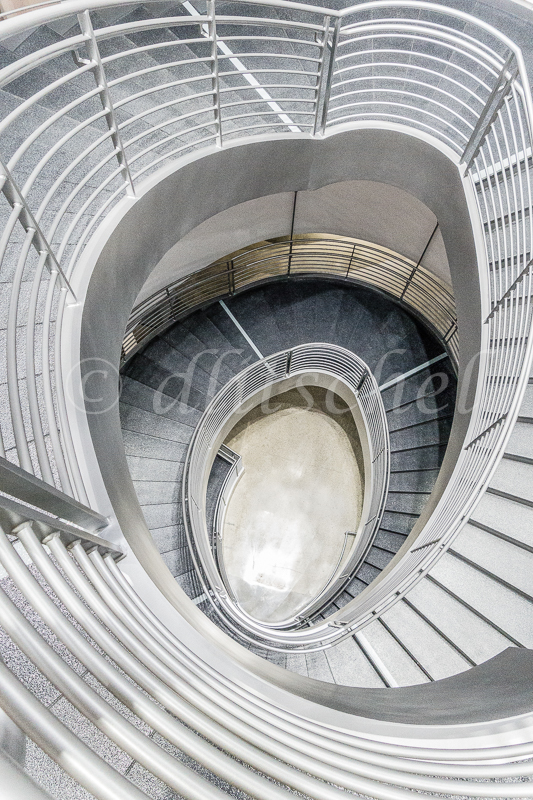 Spiral stairs at the Petersen Automotive Museum in Los Angeles form a strong graphic image.