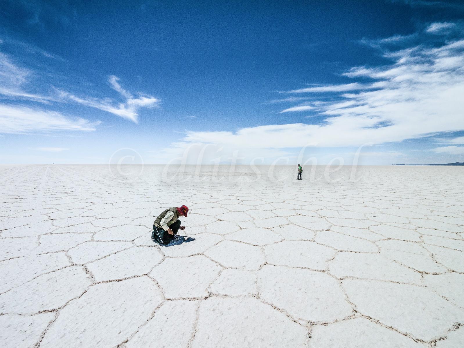 Salar de Uyuni salt flats, the largest of the world.