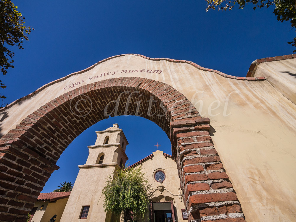 View through the front archway of the adobe church that serves as the Ojai Valley Museum.