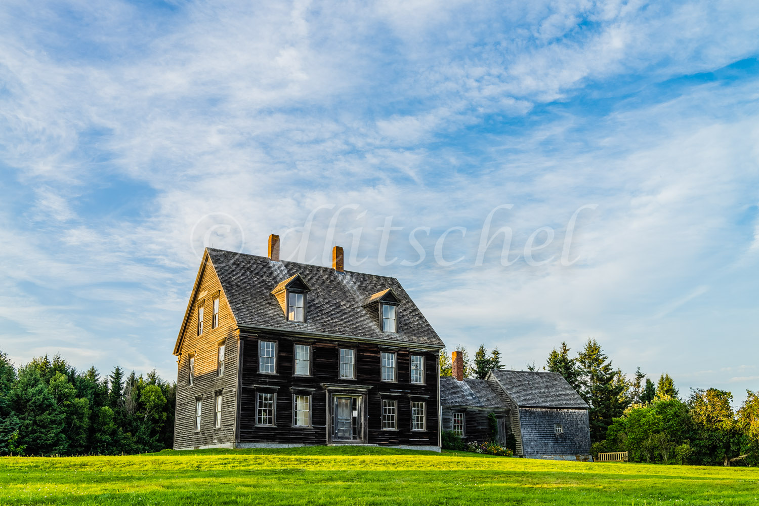 Exterior view of the Olson House made famous by the painting by American painter Andrew Wyeth entitled {quote}Christina's World{quote} in Cushing, Maine.