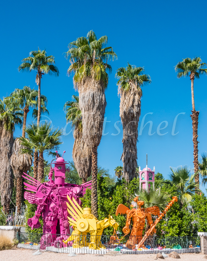 A bizarre display of handmade figures and other things at a corner lot in Palm Springs, California.