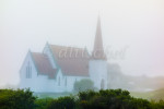 Church in fog at Peggys Cove, Nova Scotia, Canada.