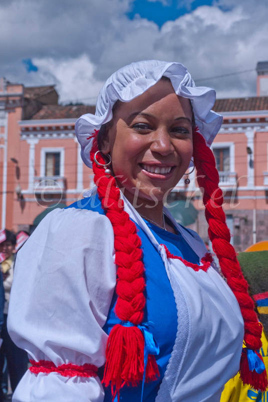 A young Cuban woman is dressed in costume for her job with Pepsico Corporation at a special event in Quito, Ecuador for the new year's celebration.