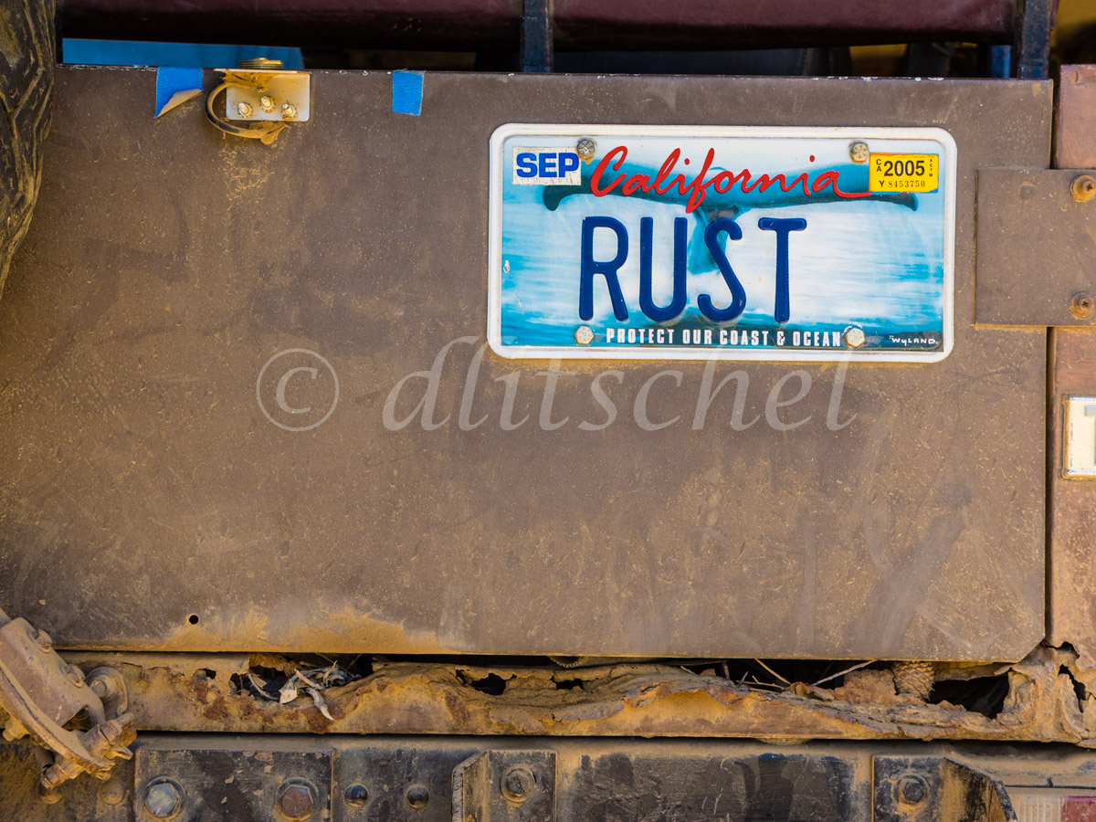 Rust License Plate, Santa Cruz Island, California. Santa Cruz Island is the largest of the eight islands in the Channel Islands of California.
