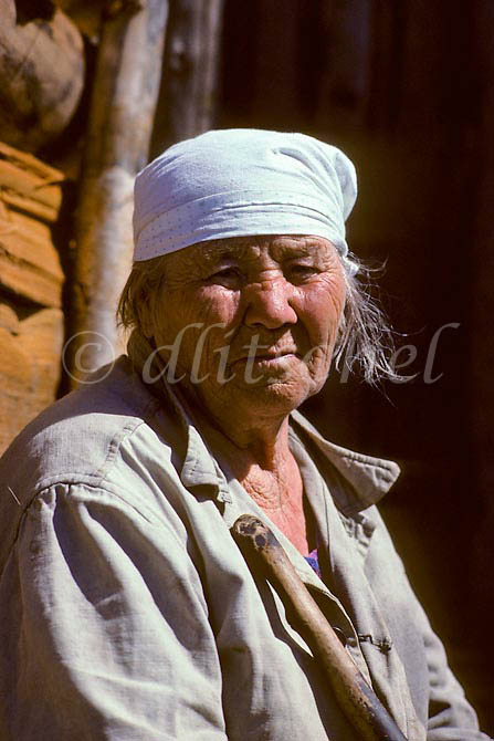 Older village woman in a small village in the Krasnoyarsk Krai region of Northern Siberia. To purchase this image, please go to my stock agency click here.