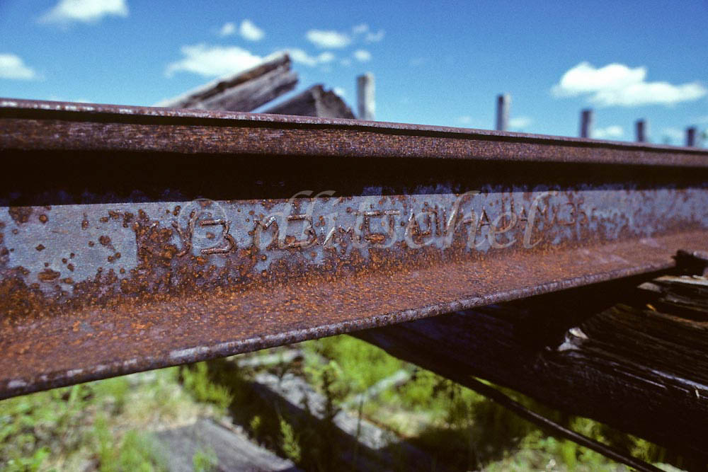 Cyrillic writing is seen on a rail closeup of Stain era gulag railroad on the permafrost in northern Siberia. To purchase this image, please go to mystock agency click here.