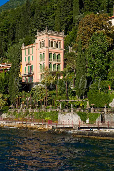Detail of building and shoreline of Varenna Italy from a Lake Como ferry. To purchase this image, please go to my stock agency click here.