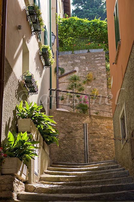 A typical steep stairway leads to the main section of the village of Varenna Italy from the shores of Lake Como. To purchase this image, please go to my stock agency click here.