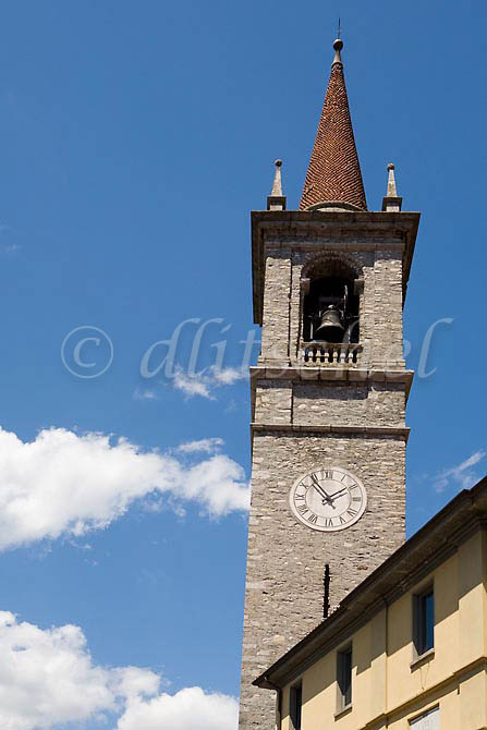 The church steeple in the main square of the Lake Como village of Varenna Italy. To purchase this image, please go to my stock agency click here.