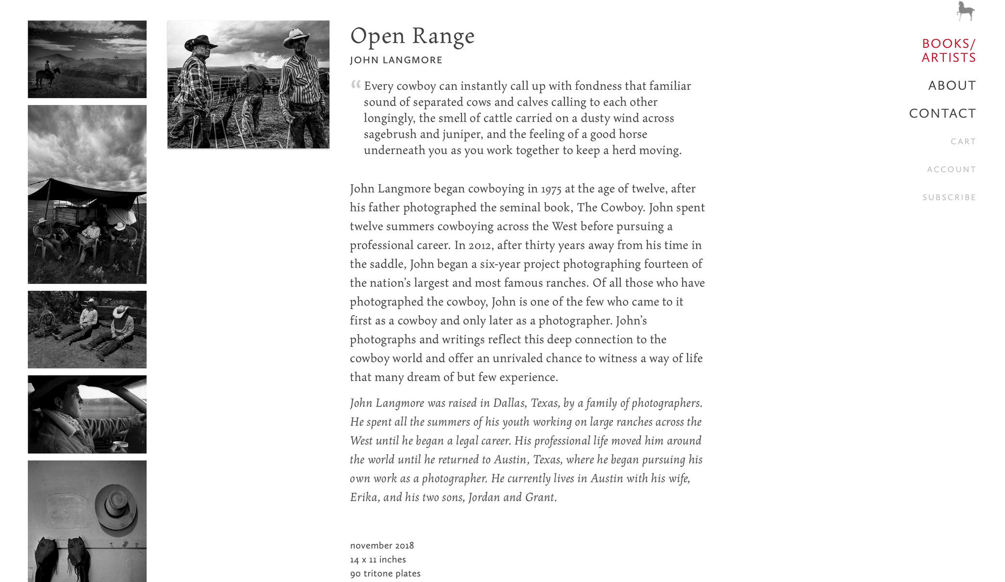Open Range is now available at Twin Palms Publishers.  Use the code {quote}langmore10{quote} for a $10 discount (while available).