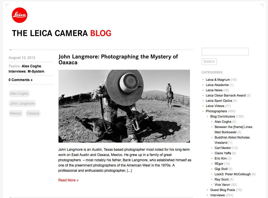 Read John's interview with Leica at:The Leica Camera Blog
