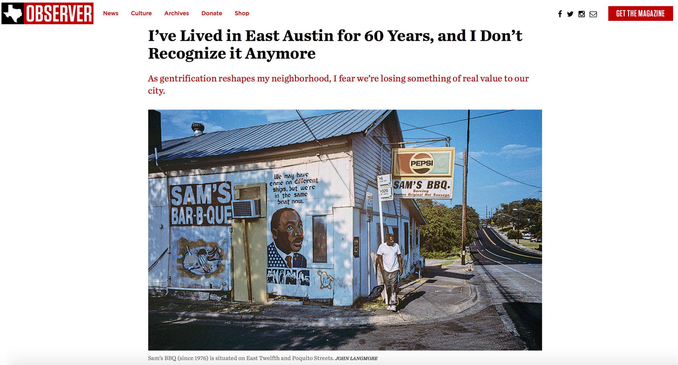 Texas Observer ran Ms. Delco's poignant essay about East Austin.