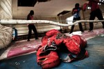 Boxgirls have a match at the Pal Pal Boxing Ring, Majengo slum in Nairobi.