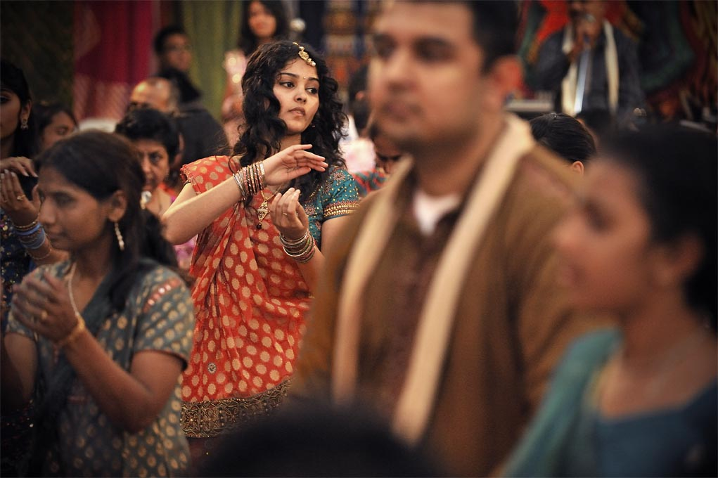 For these sacred nine nights during Navrartri, women and girls gather to dance the 'ras garba' and sing songs of praise to Abbaji their goddess.