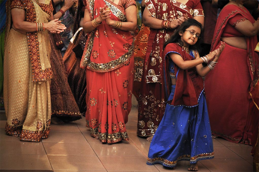 For these sacred nine nights during Navrartri, women and girls gather to dance the 'ras garba' and sing songs of praise to Abbaji their goddess. Jalaram Temple, Nairobi.