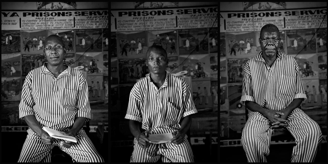 3 inmates sit for portraits at Nairobi West Prison, Kenya. Michael (far right) is HIV positive and is enrolled in the prisons Voluntary Counseling  and Testing programme, funded by The Global Fund. Rape within the prisons is very high and consequently so is the spread of HIV. Some prisoners arrive HIV positive but others will contract it serving their sentence.Photographs taken for The Global Fund to Fight AIDS, Tuberculosis and Malaria - www.theglobalfund.org