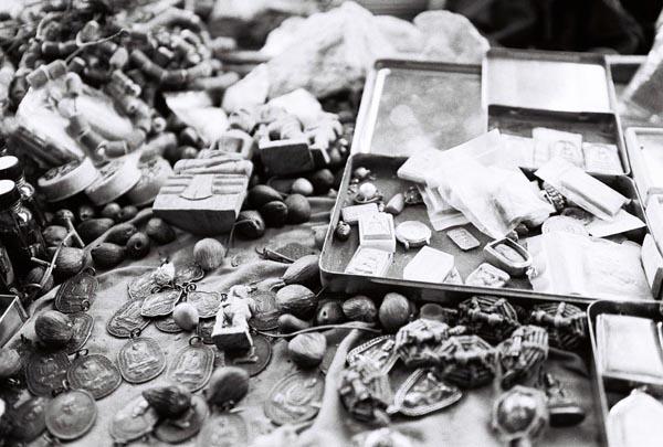 Buddhist amulet market at Wat Rajnadda