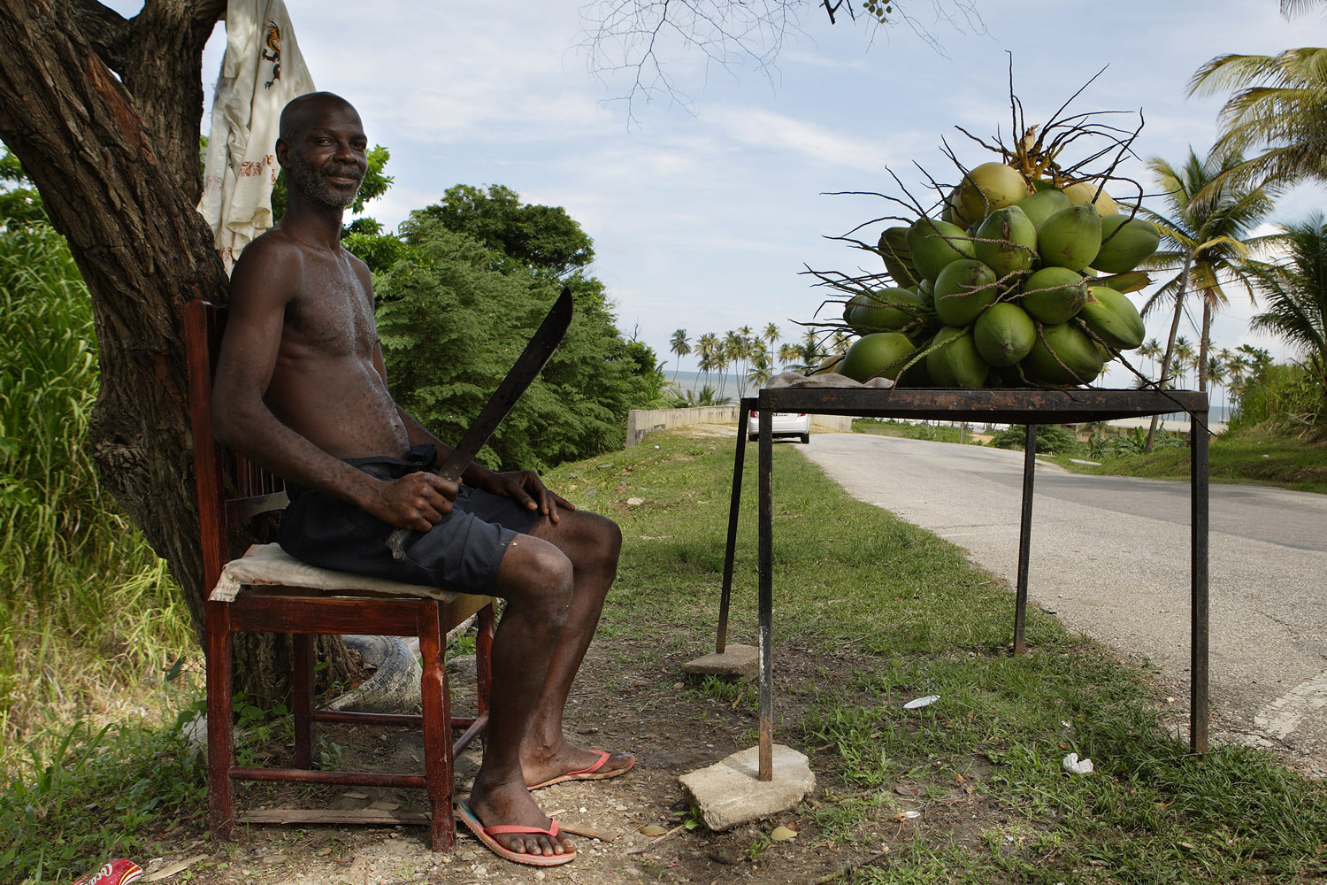 Roadside coconuts.Trinidadfor The New York Times