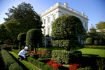 White House Executive Sous Chef Tommy Kurpradit clips fresh rosemary from the East Garden at the White House in preparation for President Bush's social dinner next week with France President Nicolas Sarkozy.    Photo by Brooks Kraft/Corbis
