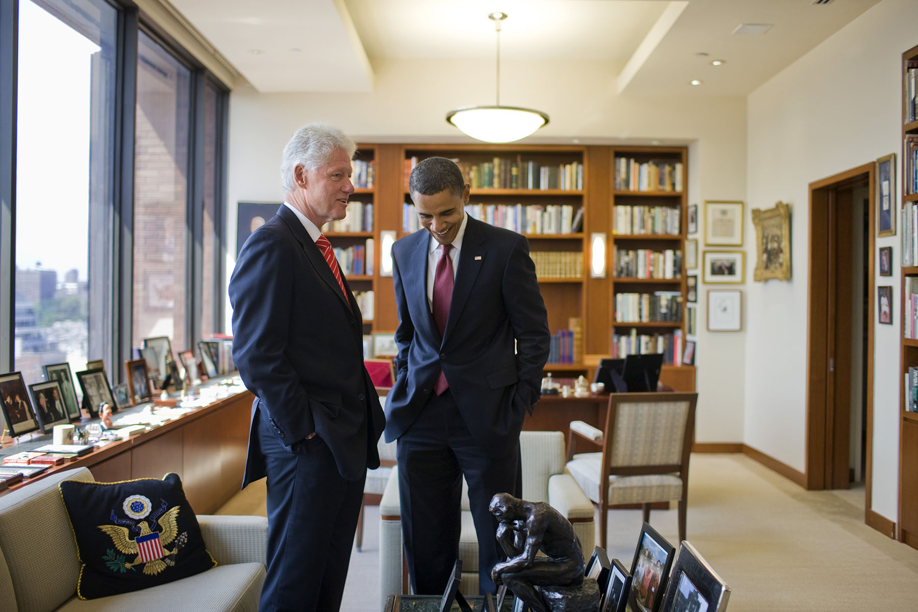 Democratic presidential candidate Sen. Barack Obama, D-Ill., meets with former President Bill Clinton in his New York office.Photo by Brooks Kraft