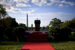 The presidential podium on the South Lawn of the White House in Washington.Photo by Brooks Kraft/Corbis