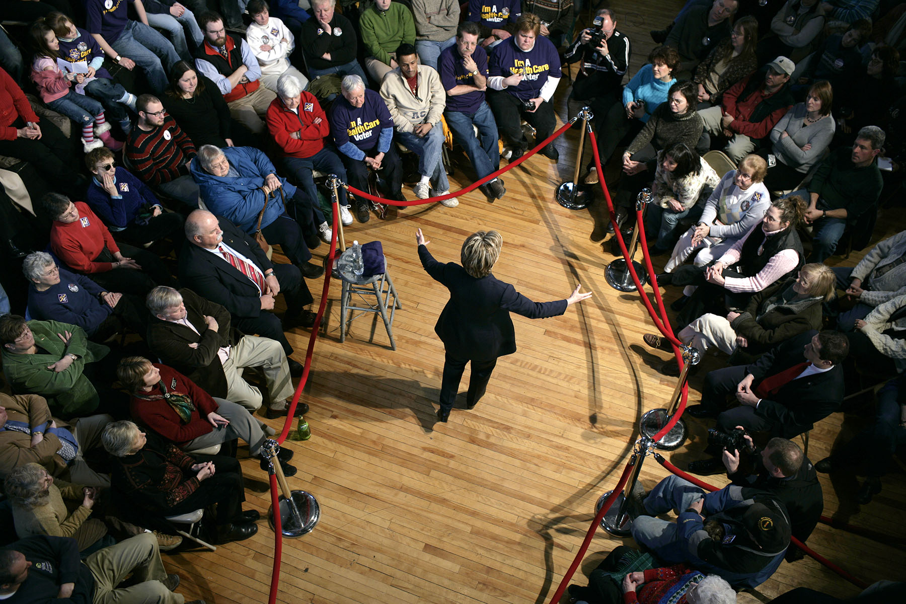 U.S. Senator and presidential hopeful Hillary Rodham Clinton (D-NY) (R) speaks to voters during a campaign stop in Berlin, NH February 10, 2007Photo by Brooks Kraft/Corbis