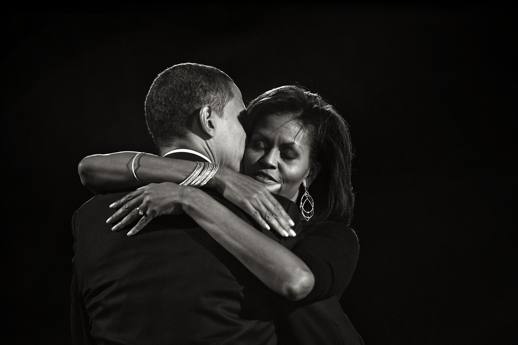 President-elect Senator Barack Obama hugs his wife Michelle during his election night rally in Chicago.Photo by Brooks Kraft/Corbis