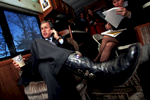 Republican presidential candidate George W Bush on his campaign bus in New Hampshire.