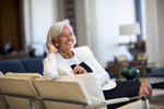 Christine Lagarde,  Managing Director of the International Money Fund (IMF) in her Washington DC office.   Lagarde was the first woman ever to become finance minister of a G8 economy (France), and is the first woman to ever head the IMF.
