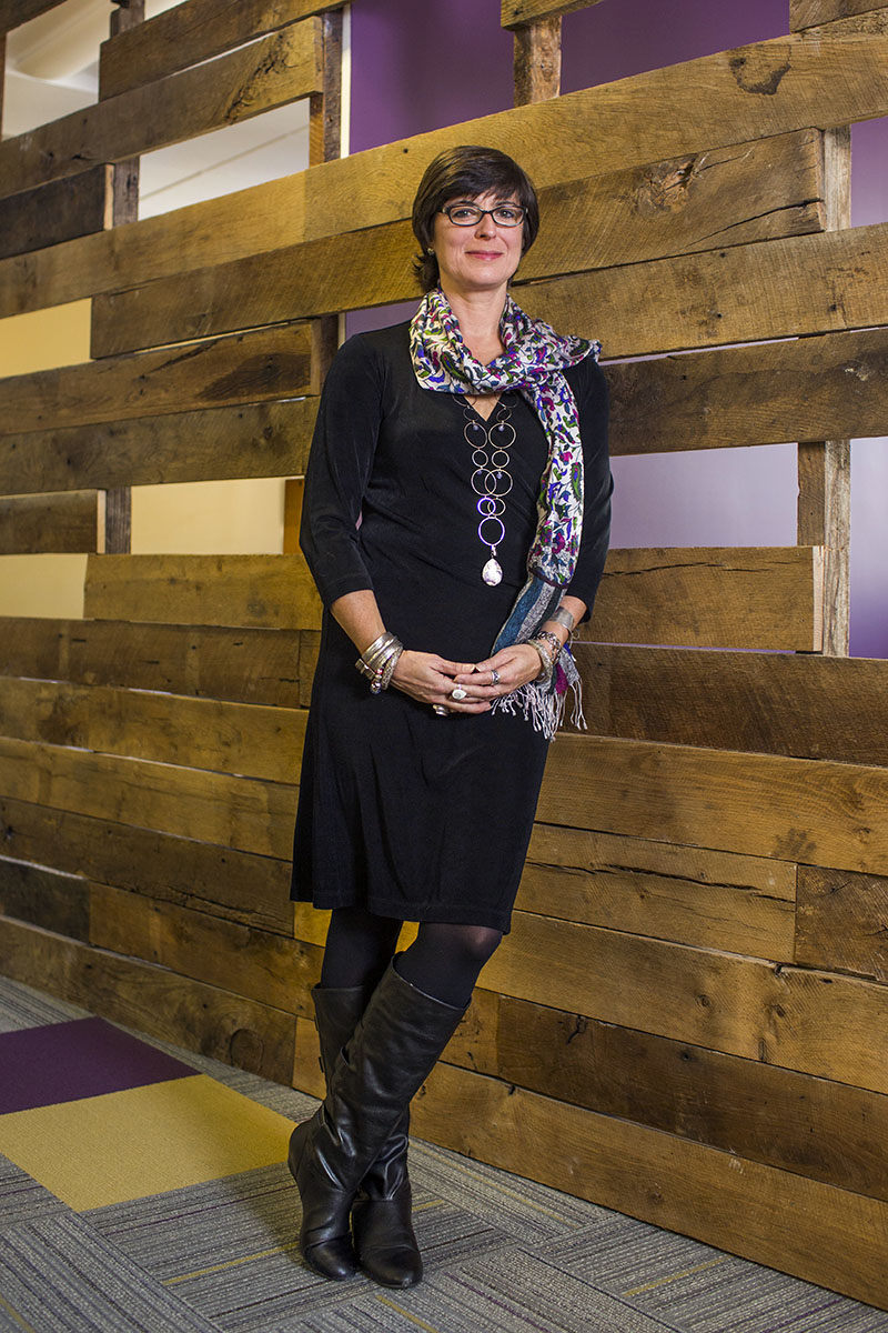 Danielle Brian '82,  Executive Director of Project on Government Oversight (POGO) in Washington, DC.    Brian had the open wood walls designed as a symbol of the organization's work.