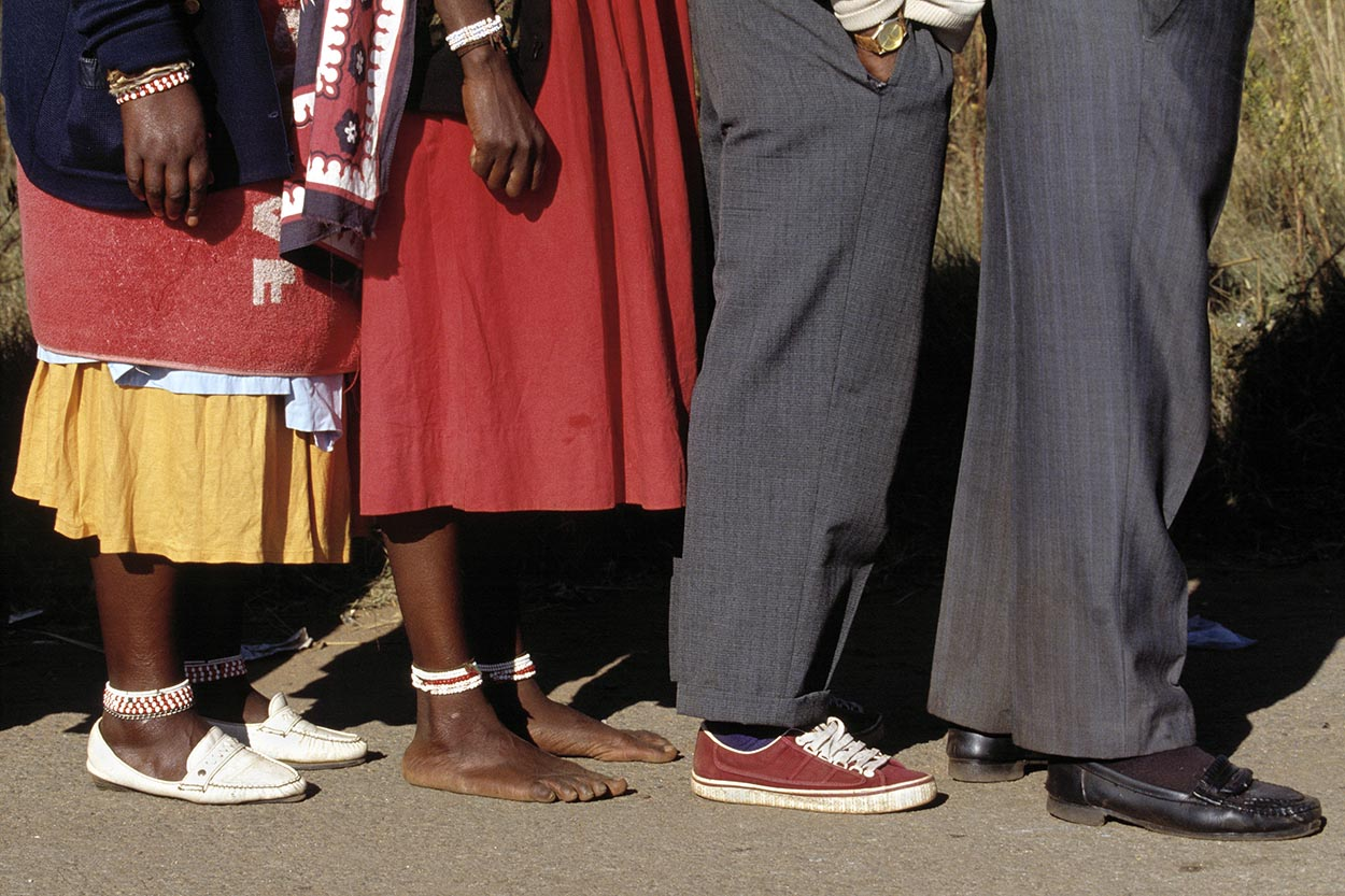 Voters line up outside a polling station.   Millions of South Africans voted in the nation's first free and democratic general election,  marking the end of centuries of apartheid rule.  Nelson Mandela of the African National Congress (ANC) was elected as the first black President of South Africa.