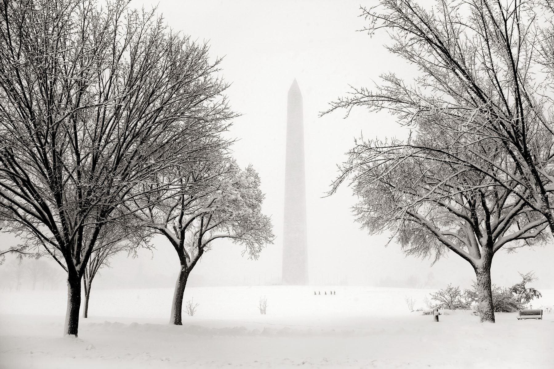 The Washington Monument is seen during an intense winter blizzard hit the nation's capital and much of the Mid Atlantic region, shutting down the Federal government.