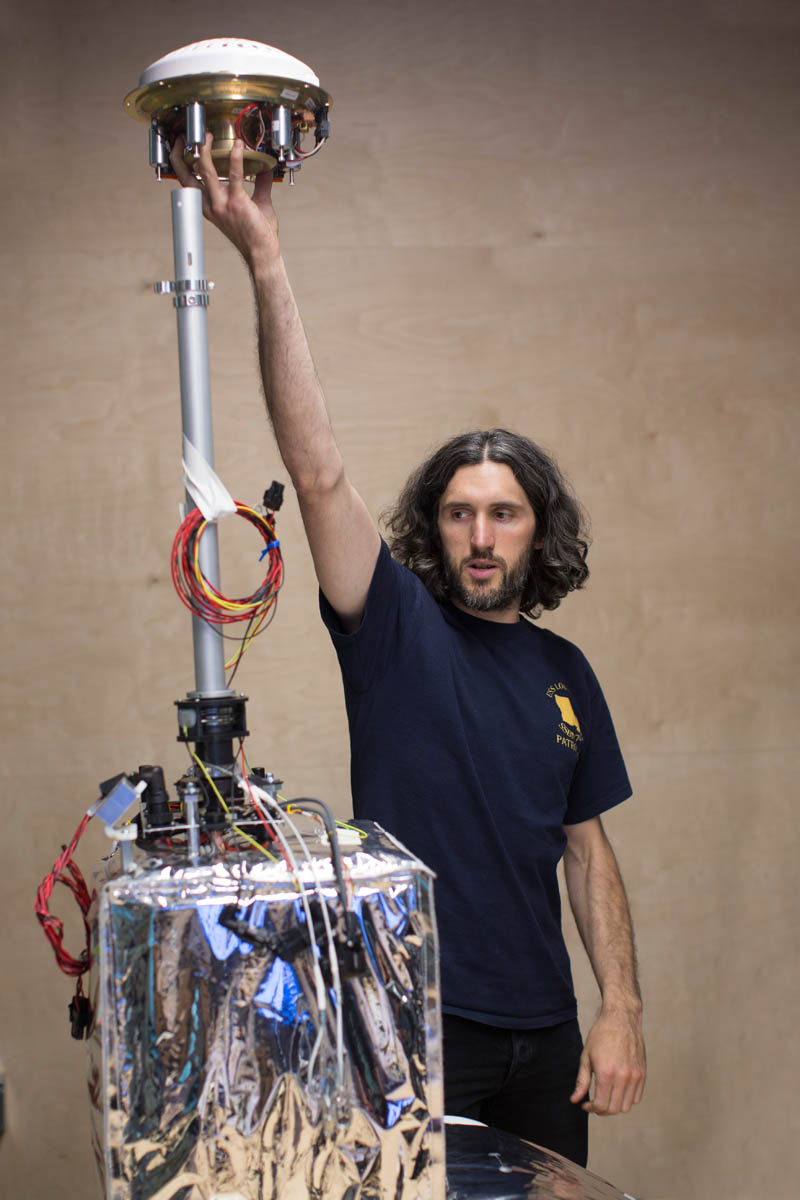 Christopher Schuster,  Manager of The Project Loan Lab at Google in Mountain View.   Schuster demonstrates  the flight electronics system for the Loon balloons inside secretive Google X research lab.