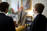 Vice President Biden talks with staff in his White House office.