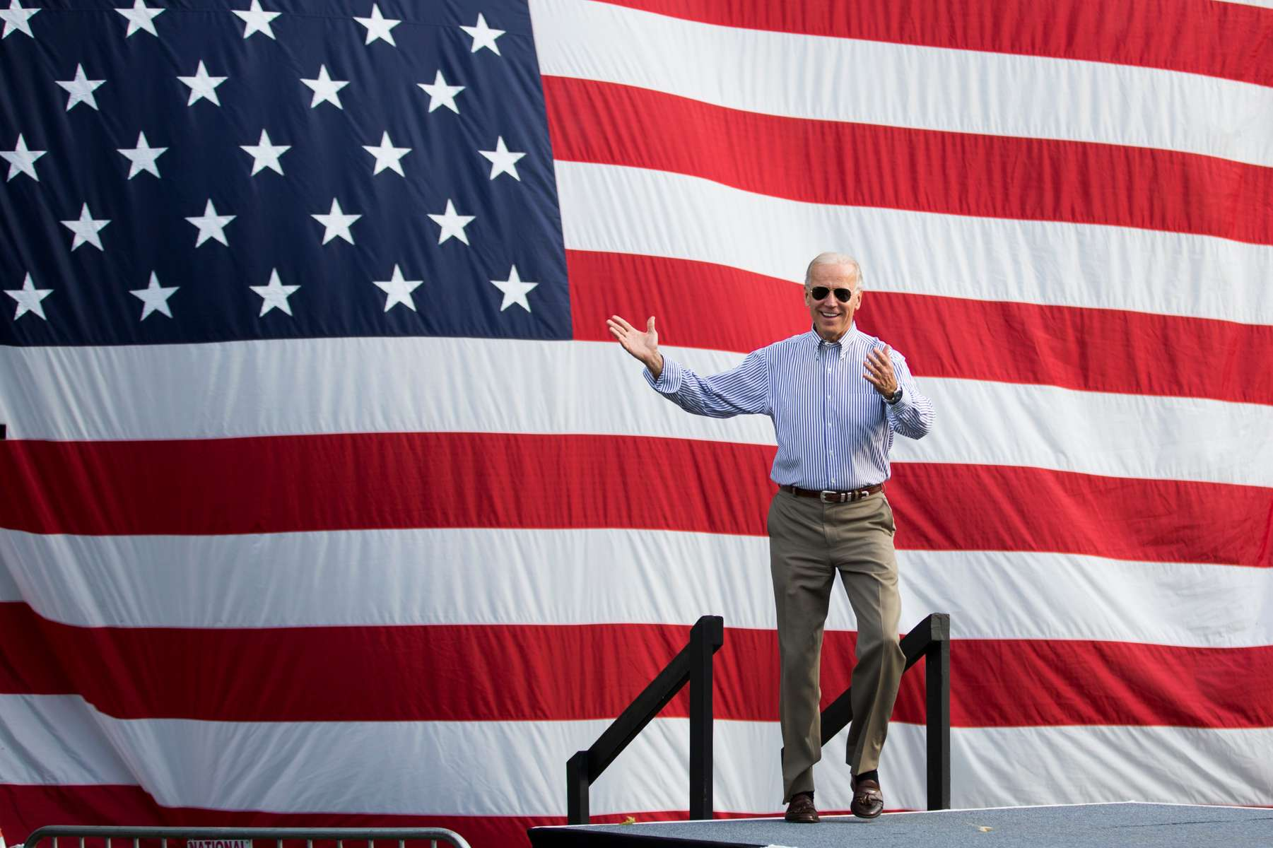 Vice President Joe Biden arrives at a campaign rally in Dayton, Ohio.