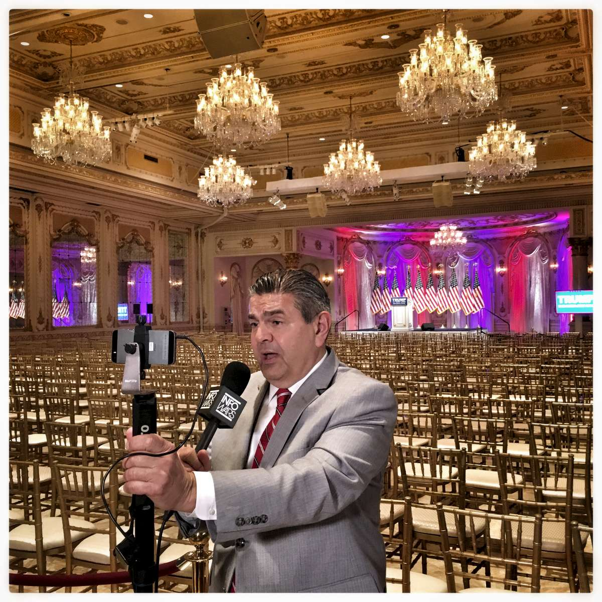 Media  inside  the Donald J. Trump Ballroom at the Mar-A-Lago Club' in Palm Beach,  where Republican presidential candidate Donald Trump spoke after the Florida primary.