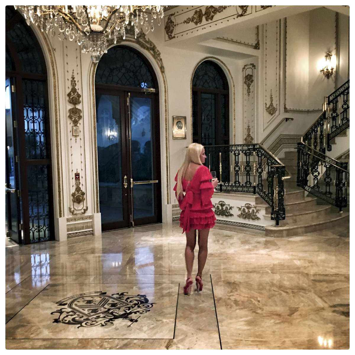 A supporter arrives in the Donald J. Trump Ballroom at the Mar-A-Lago Club' in Palm Beach,  where Republican presidential candidate Donald Trump spoke after the Florida primary.