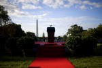 The presidential podium on the South Lawn of the White House in Washington.