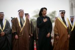 Secretary of State Condoleezza Rice with Arab officials during an arrival ceremony for President Bush and the King of Bahrain at Sakhir Palace in Manama, Bahrain.