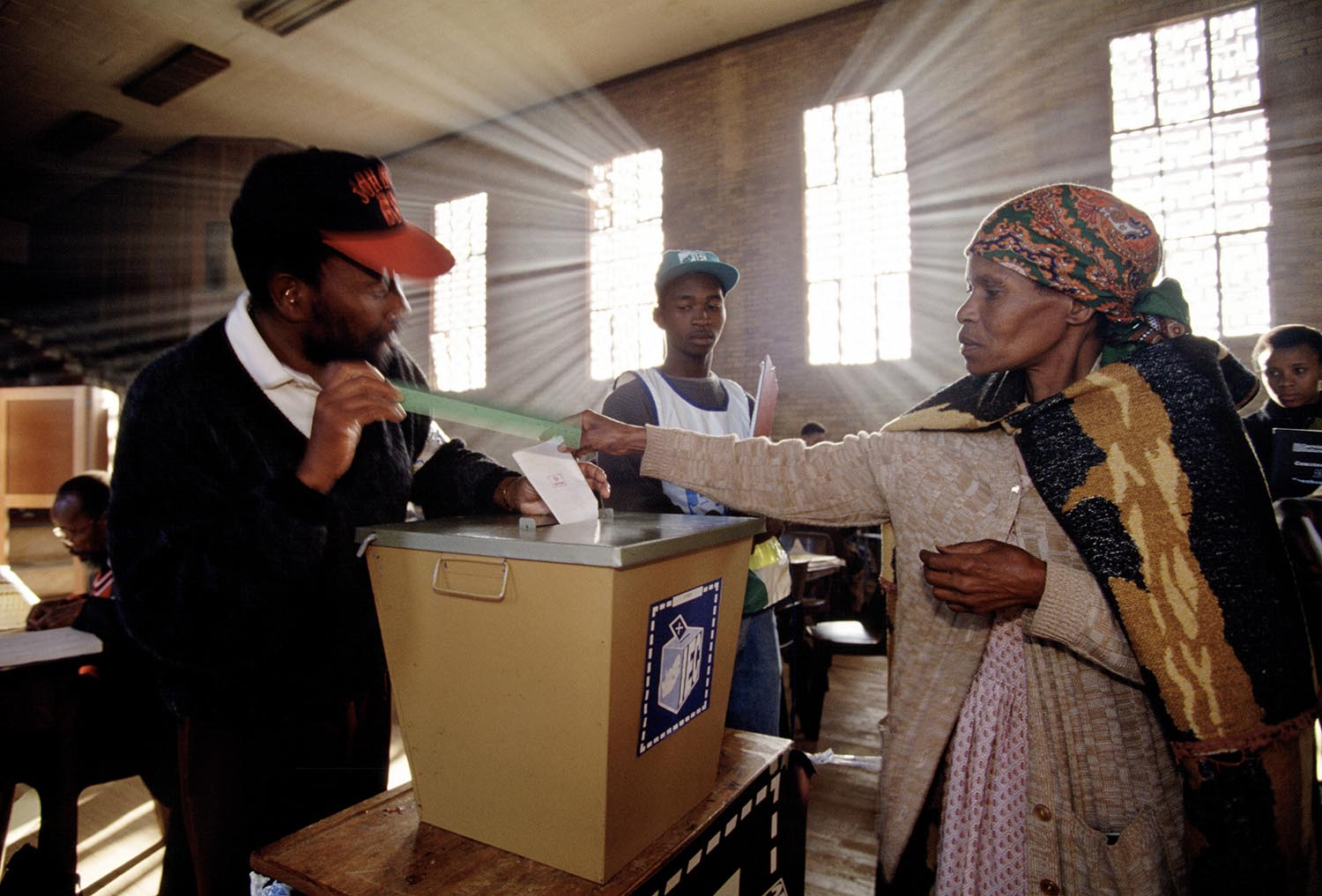 A woman casts her ballot at a polling station in Soweto.    Millions of South Africans voted in the nation's first free and democratic general election,  marking the end of centuries of apartheid rule.  Nelson Mandela of the African National Congress (ANC) was elected as the first black President of South Africa.