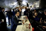 Republican presidential candidate Mitt Romney eats pie at a diner in New Hampshire.