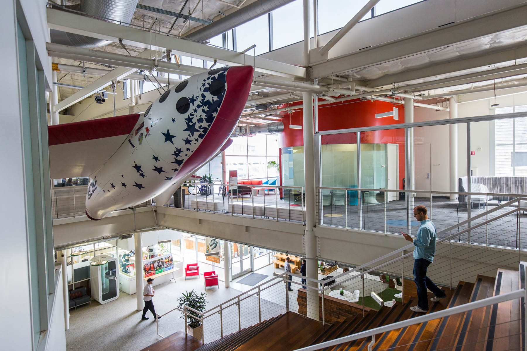 An interior view of office space at the Googleplex,  the corporate headquarters complex of Google, Inc., located in Mountain View, California.