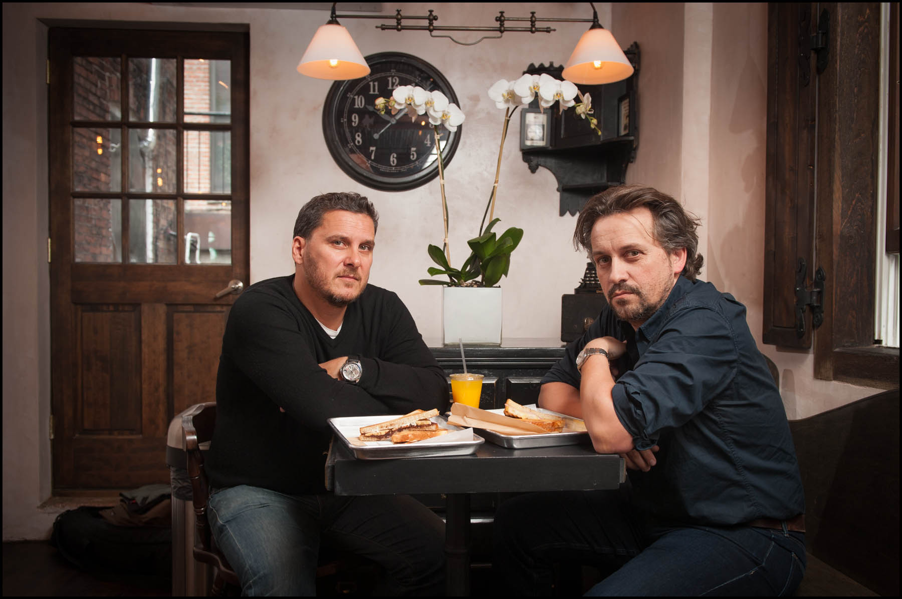 Yves Jadot (left) and Alberto Benenati in their new East Village Restaurant, La Maison du Croque Monsieur