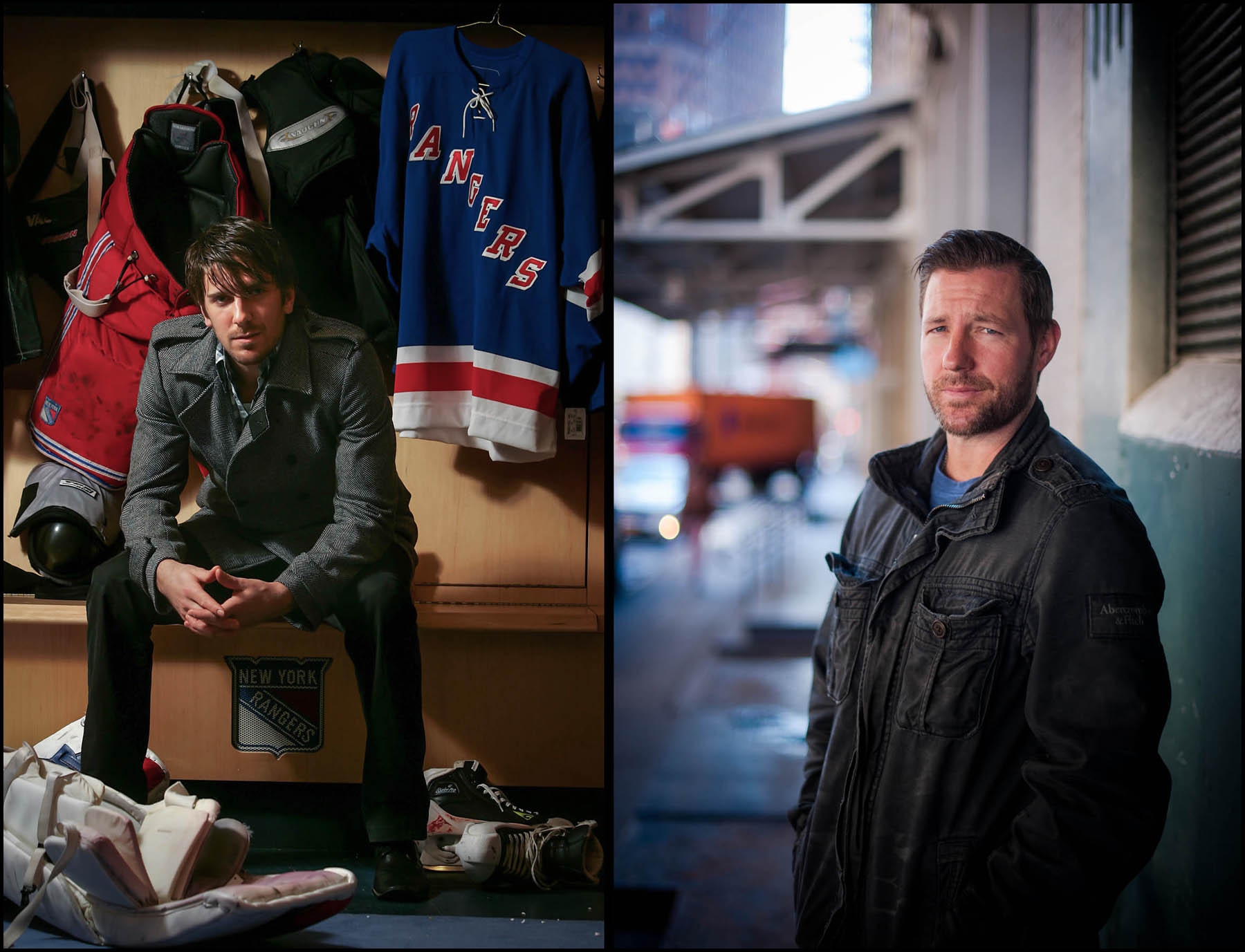 New York Rangers Goalie Henrik Lundqvist at the Rangers Training Facility in Greenburgh, NY. Actor Ed Burns photographed on the streets of Tribeca.