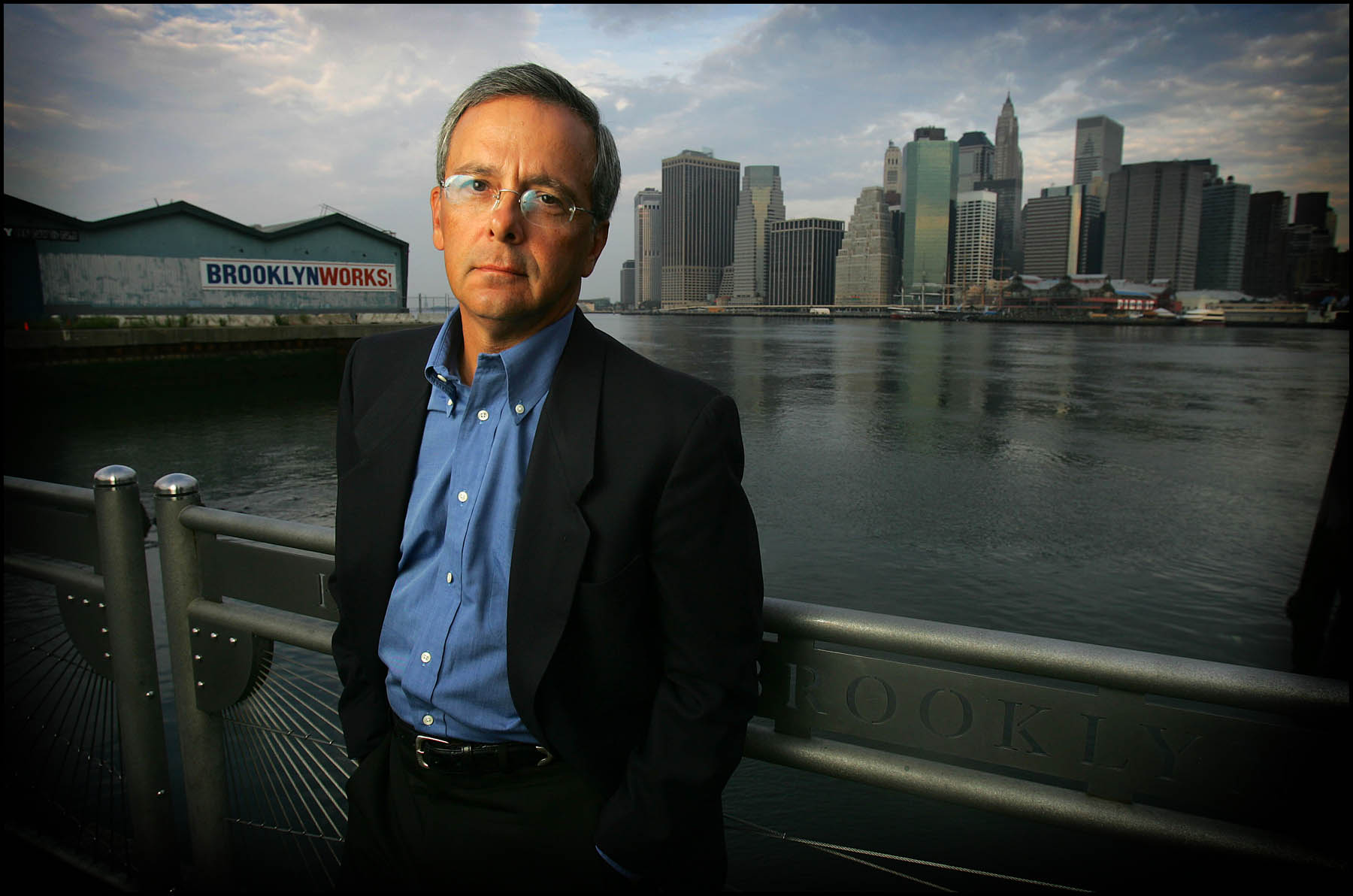 Sports media legend Mike Lupica photographed on the Brooklyn waterfront.