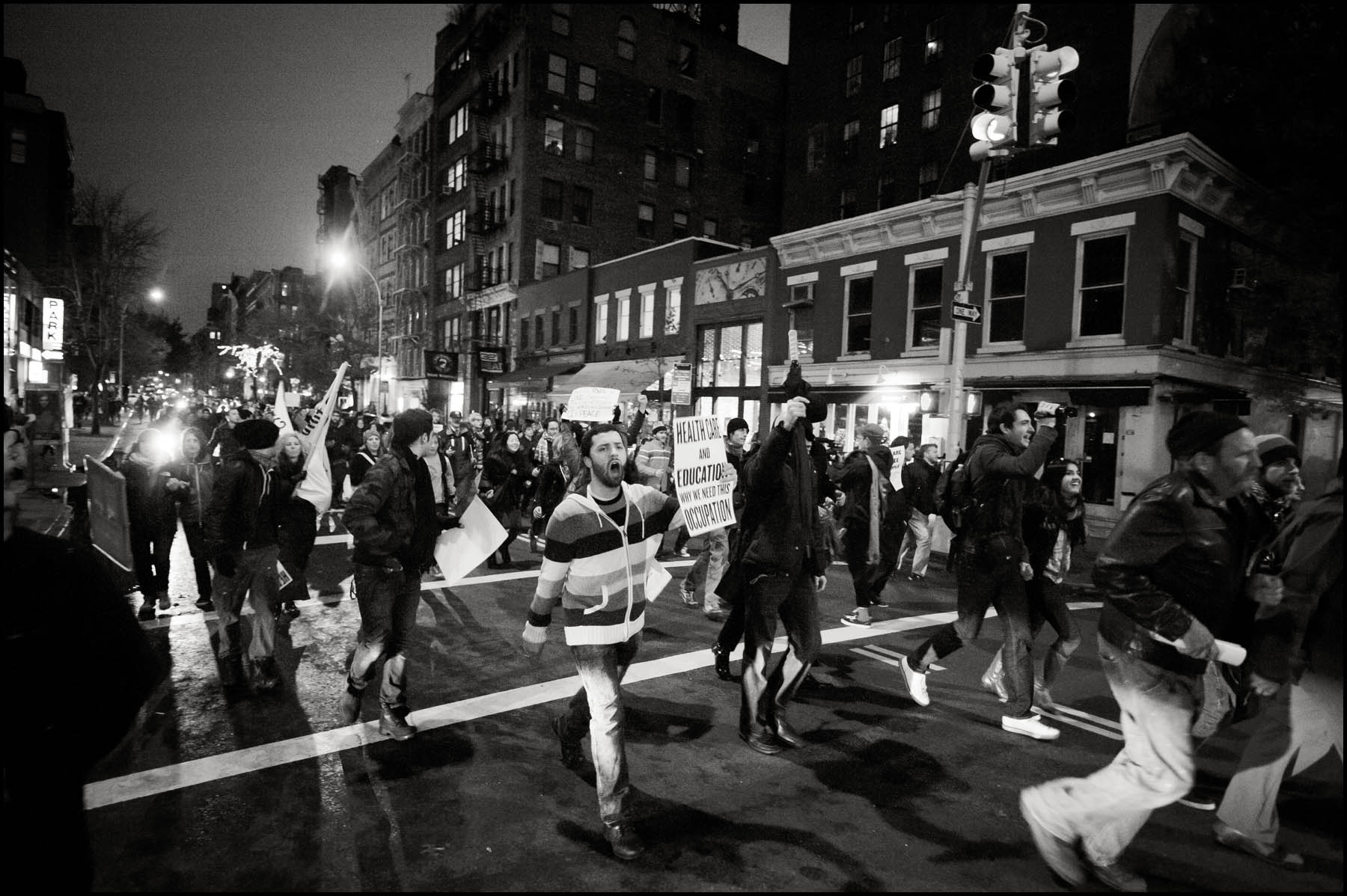 Protesters run unchecked through the streets while marching from Union Square to Foley Square. The Police ceded the streets to the protesters when they couldn't contain the crowd of about 2,000 protesters.
