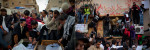(l) Mourners gather near the coffins of Libyans who were killed in recent clashes in Benghazi.(r) Libyans demonstrated against Colonel Muammar Gaddafi in Benghazi.